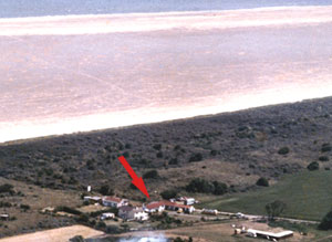 An aerial view of the location of The Dunes Cottage.